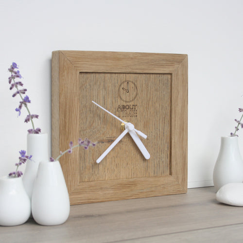 Square Wooden Oak Clock