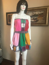 Load image into Gallery viewer, HANDMADE MINIDRESS, CROCHET, MULTICOLOUR. UNIQUE