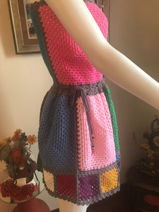 HANDMADE MINIDRESS, CROCHET, MULTICOLOUR. UNIQUE