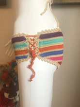 Load image into Gallery viewer, HANDMADE BIKINI SET, RAINBOW COLOUR. CROCHET