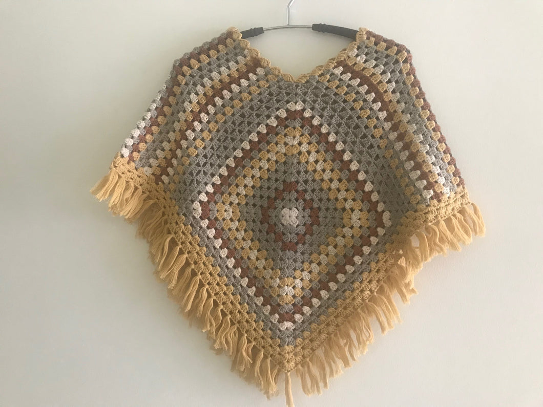 HANDMADE PONCHO FOR GIRLS, CROCHET, MULTICOLOUR.