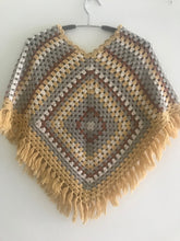 Load image into Gallery viewer, HANDMADE PONCHO FOR GIRLS, CROCHET, MULTICOLOUR.