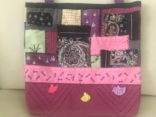 HANDMADE PATCHWORK BAG, EMBROIDER, BEADED, MULTICOLOUR.