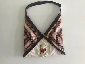 HANDMADE SHOULDER BAG, CROCHET AND WOODEN BEAD