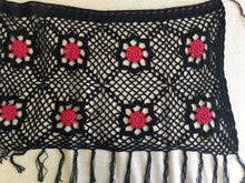 Load image into Gallery viewer, HANDMADE CROCHET PAREO BLACK AND READ