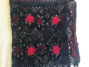 HANDMADE CROCHET PAREO BLACK AND READ