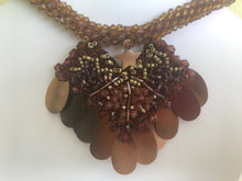 Load image into Gallery viewer, BIB NECKLACES, BEAD CROCHET, WOMEN JEWELRY, HANDMADE, BROWN