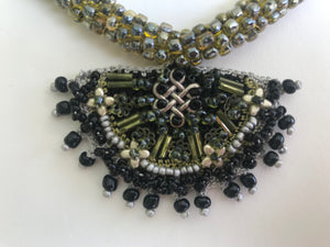 BIB NECKLACES WOMEN JEWELRY, GREEN COLOUR. HANDMADE BEADED CROCHET