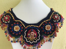 Load image into Gallery viewer, BIB NECKLACES WOMEN JEWELRY, CROCHET AND EMBROIDER TECHNIQUE, DARK BLUE
