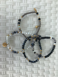 WOMEN BRACELETS WRAP, BLACK AND WHITE, BEADED AND METALS,