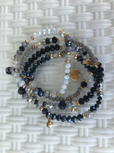 Load image into Gallery viewer, WOMEN BRACELETS WRAP, BLACK AND WHITE, BEADED AND METALS,