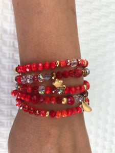 WOMEN BRACELETS JEWELRY, RED COLOUR, BEADS AND METALS