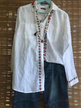 Load image into Gallery viewer, WOMEN BLOUSES SHIRTS, LINEN, FRONT CROSS STITCH