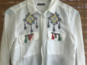 WOMEN BLOUSES SHIRTS, LINEN, POCKET CROSS-STITCH PATTERN