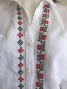 WOMEN BLOUSES SHIRTS, LINEN, FRONT CROSS STITCH