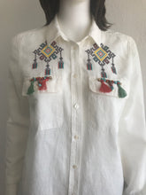 Load image into Gallery viewer, WOMEN BLOUSES SHIRTS, LINEN, POCKET CROSS-STITCH PATTERN