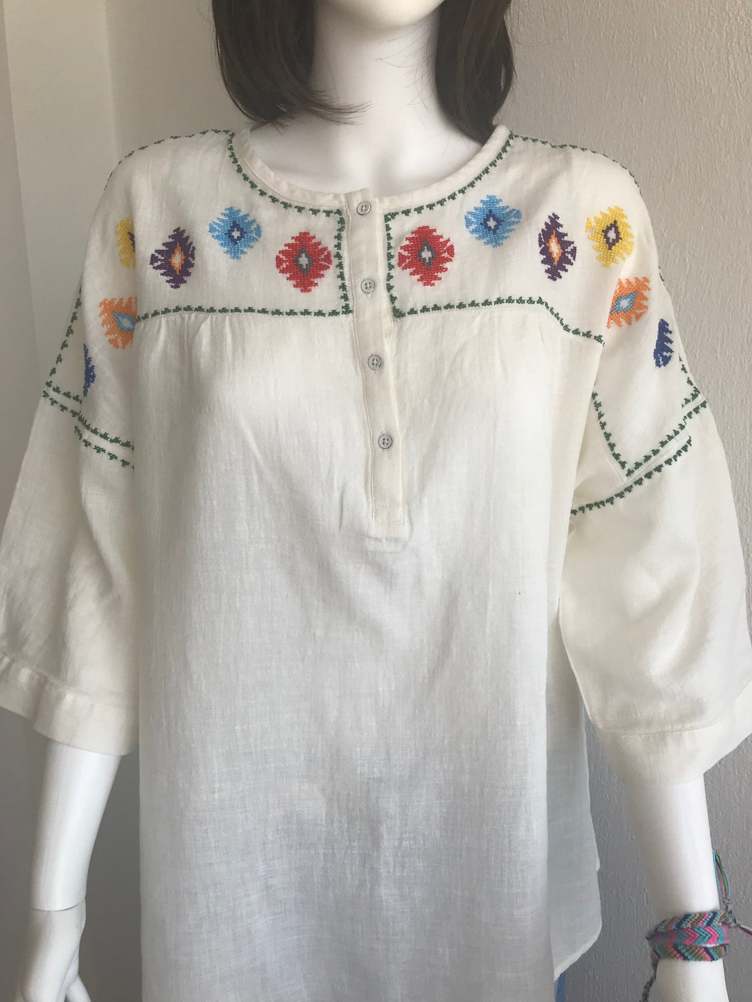 WOMEN BLOUSES SHIRTS, LINEN, WHITE COLOUR, FIGURES ON SHOULDER AND SLEEVES