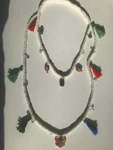 WOMEN BIB NECKLACES, WHITE BEAD WITH CROCHET TECHNIQUE, BOHO AND ETHNIC