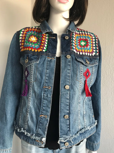 WOMEN DENIM JEAN JACKET, HANDMADE PATCHWORK DESIGN