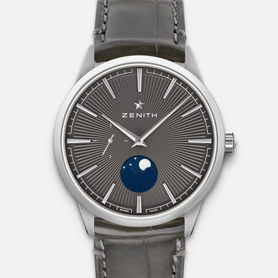 Zenith Elite Moonphase Grey Dial In Steel
