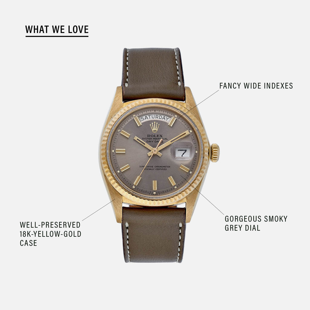 1972 Rolex Day-Date 'Wide Boy' Reference 1803 In Yellow Gold