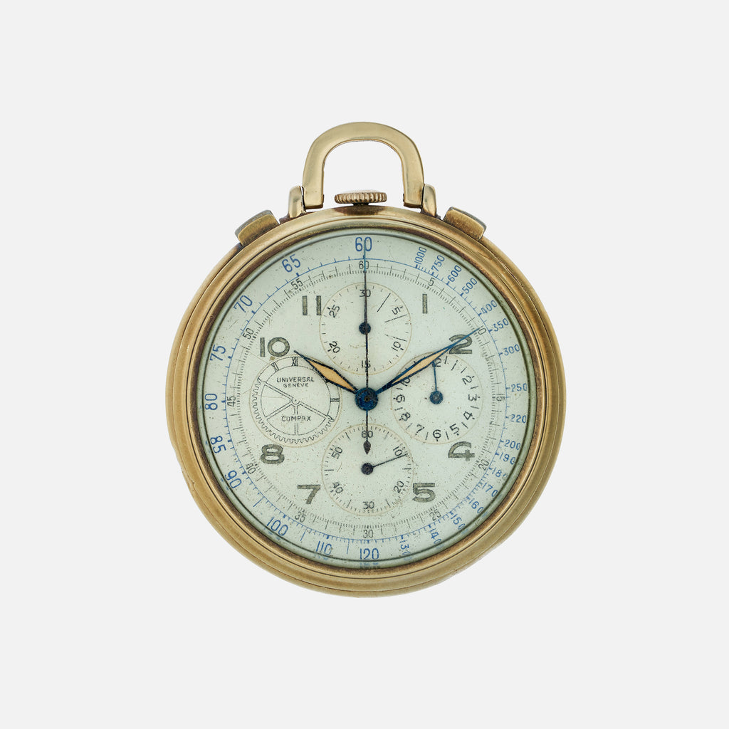 1940s Universal Genève Compax Chronograph Pocket Watch In 14k Gold