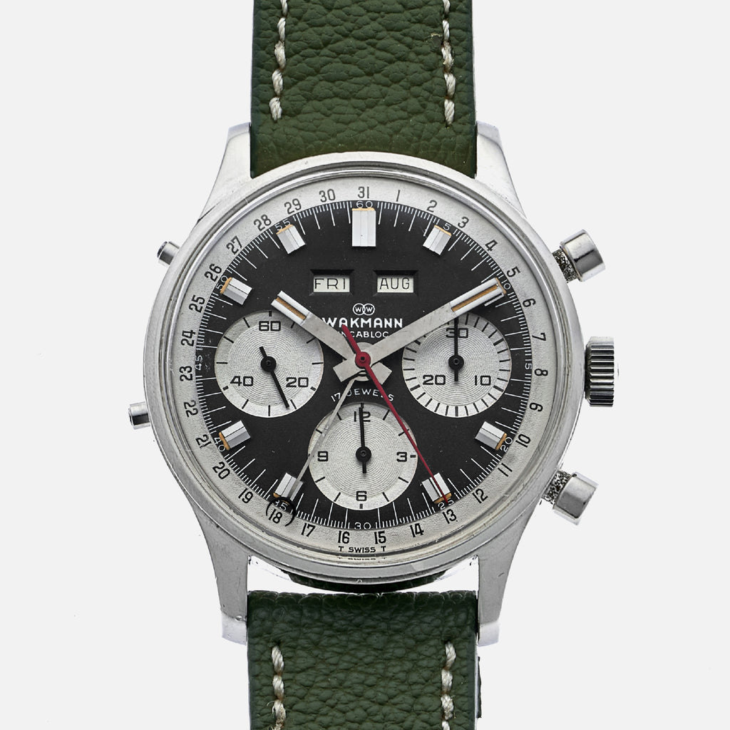 1960s Wakmann Triple-Calendar Chronograph With Box And Papers