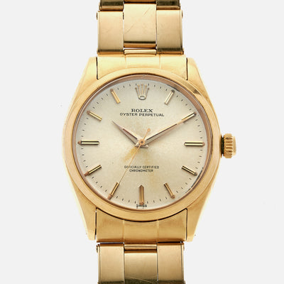 1958 Rolex Oyster Perpetual In 18k Yellow Gold With 14k Gold Oyster Bracelet