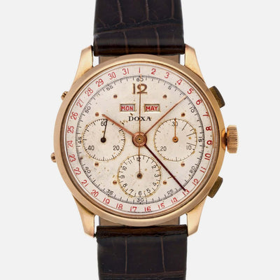 1950s Doxa Triple Calendar Chronograph In Pink Gold