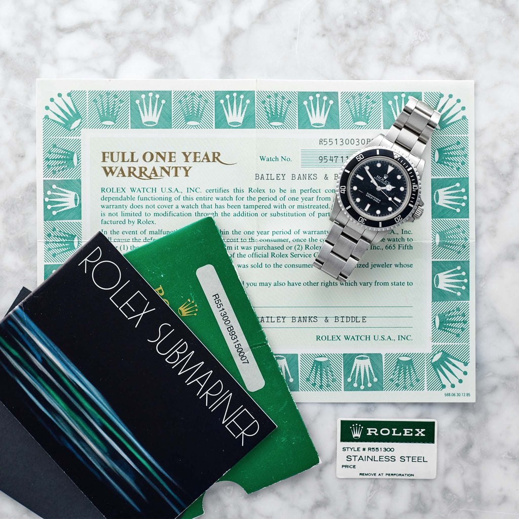 1986 Rolex Submariner Reference 5513 With Original Papers