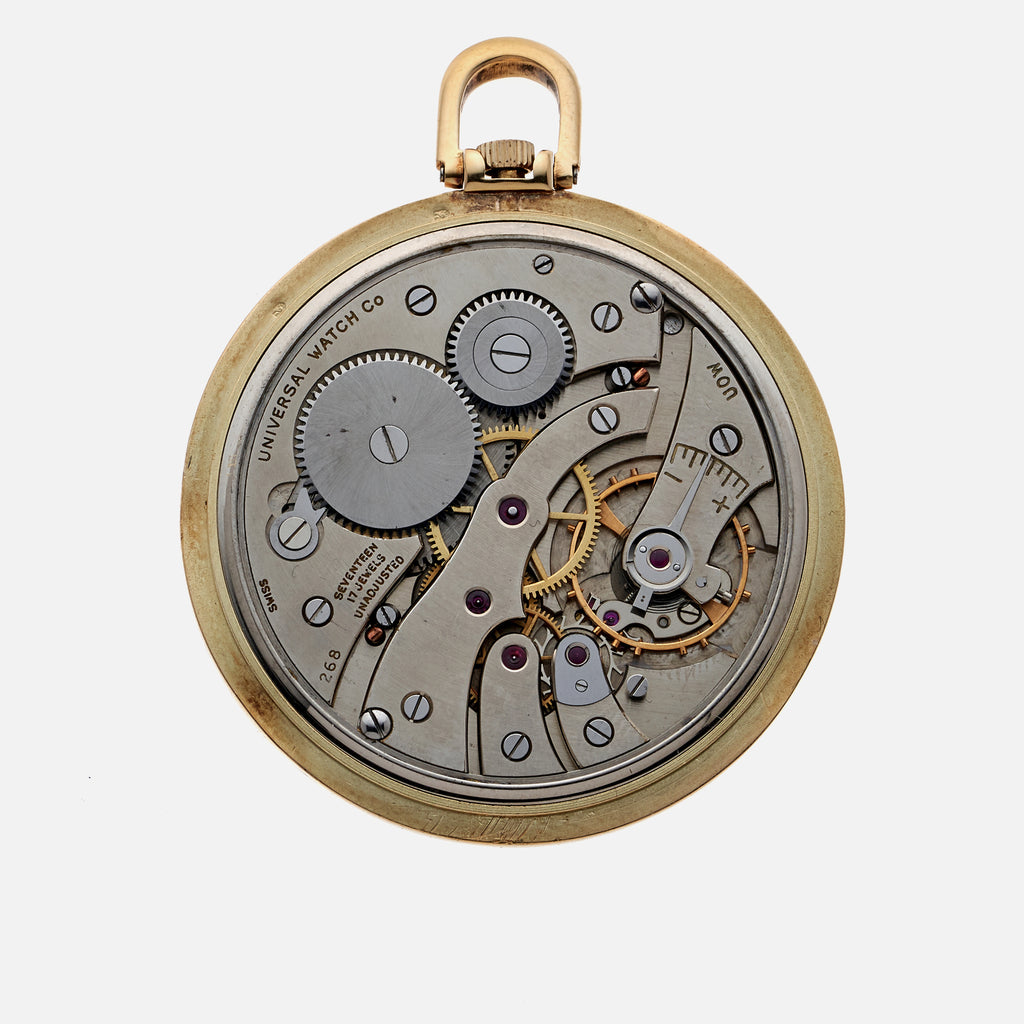 1950s Universal Genève Pocket Watch In 14k Yellow Gold