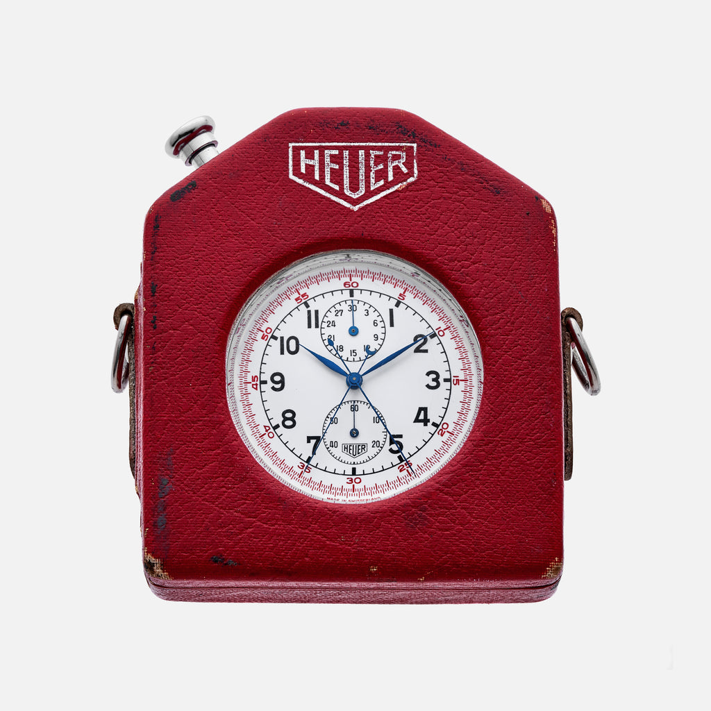 1960s Heuer Split-Seconds Pocket Chronograph Reference 11.202 With Fitted Case And Strap