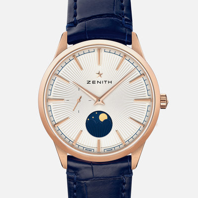 Zenith Elite Moonphase Silver Dial In Rose Gold