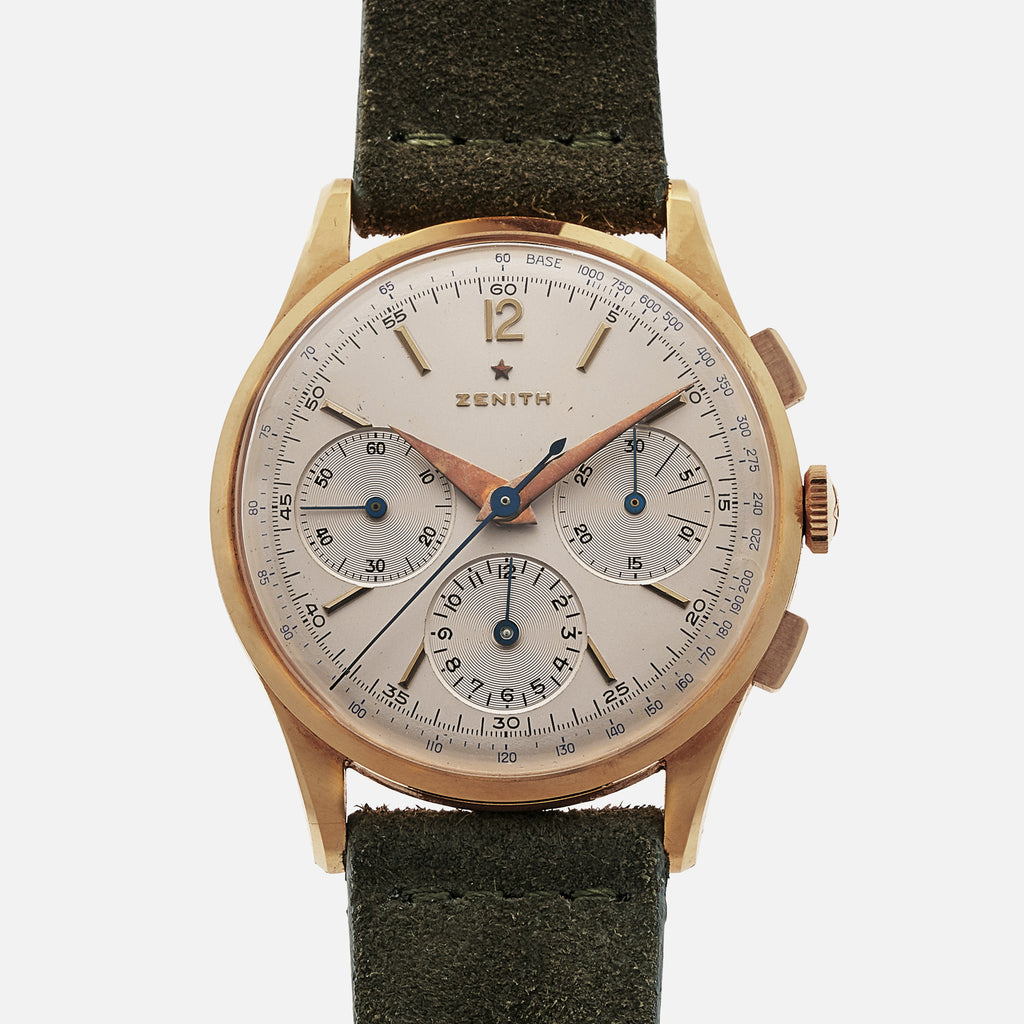 1950s Zenith Chronograph Ref. 19529 In Yellow Gold
