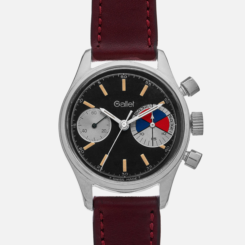 1960s Gallet MultiChron Yachting 'Big Eye' Chronograph With Black Dial