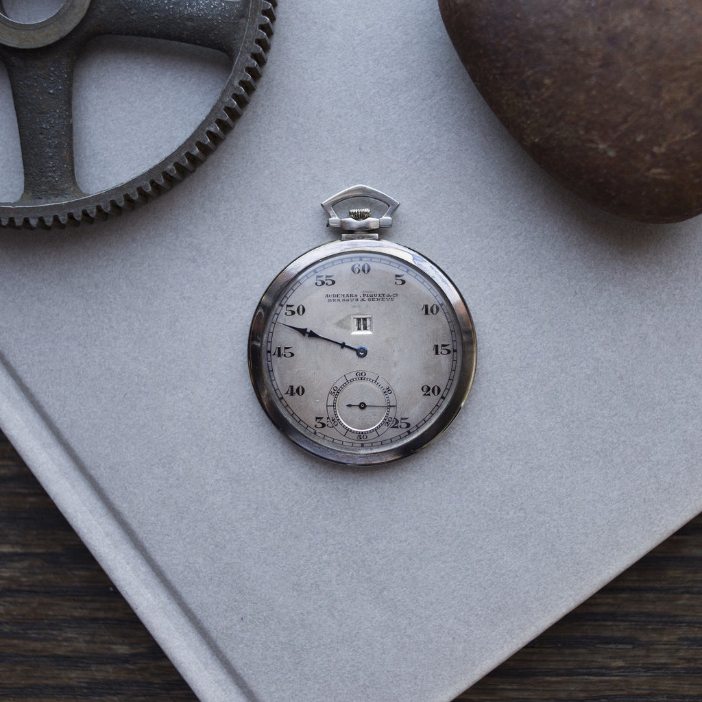 1924 Audemars Piguet Jumping Hour Pocket Watch In White Gold