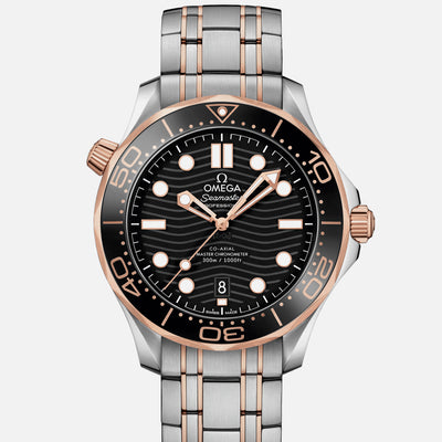 OMEGA Seamaster Diver 300M Co-Axial Master Chronometer 42mm Two-Tone Sedna Gold Black Dial On Bracelet