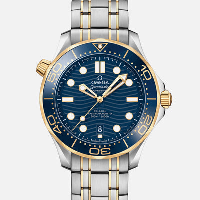 OMEGA Seamaster Diver 300M Co-Axial Master Chronometer 42mm Two-Tone Yellow Gold Blue Dial On Bracelet
