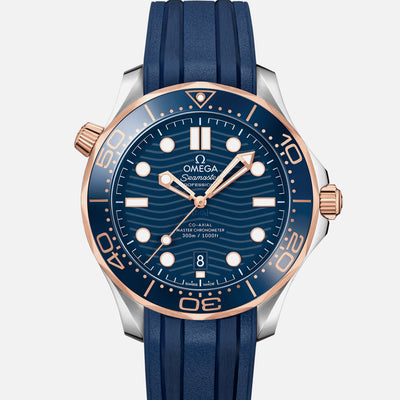 OMEGA Seamaster Diver 300M Co-Axial Master Chronometer 42mm Two-Tone Sedna Gold Blue Dial On Rubber Strap