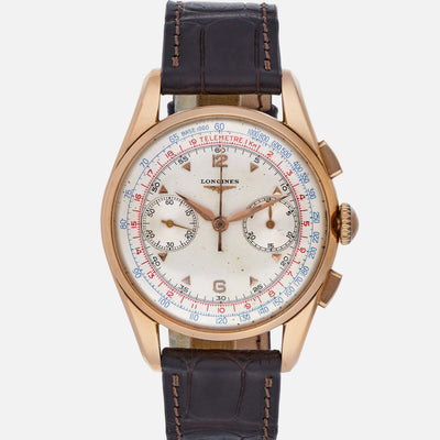 1950s Longines 30CH Flyback Chronograph In Rose Gold