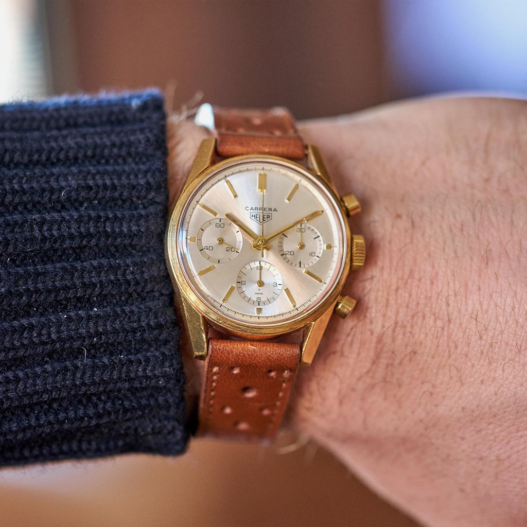 1960s Yellow Gold Heuer Carrera Chronograph Reference 2456S