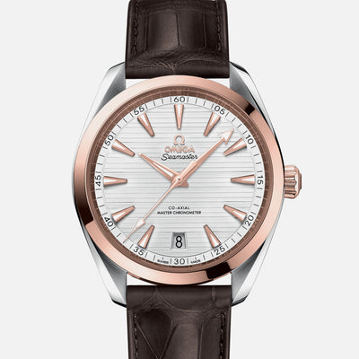 OMEGA Seamaster Aqua Terra 150M Co-Axial Master Chronometer 41mm Two-Tone Sedna Gold White Dial On Leather Strap