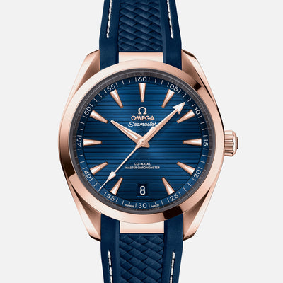 OMEGA Seamaster Aqua Terra 150M Co-Axial Master Chronometer 41mm Sedna Gold Blue Dial On Rubber Strap