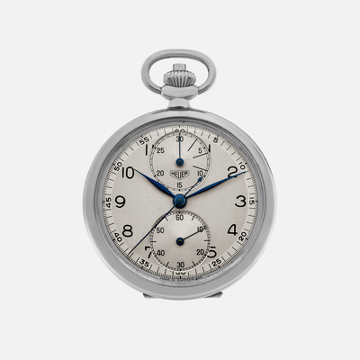 1940s Heuer Single-Button Chronograph Pocket Watch
