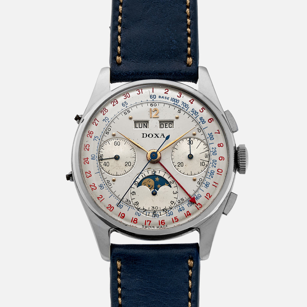 1940s Doxa Complete Calendar Chronograph With Moon Phase
