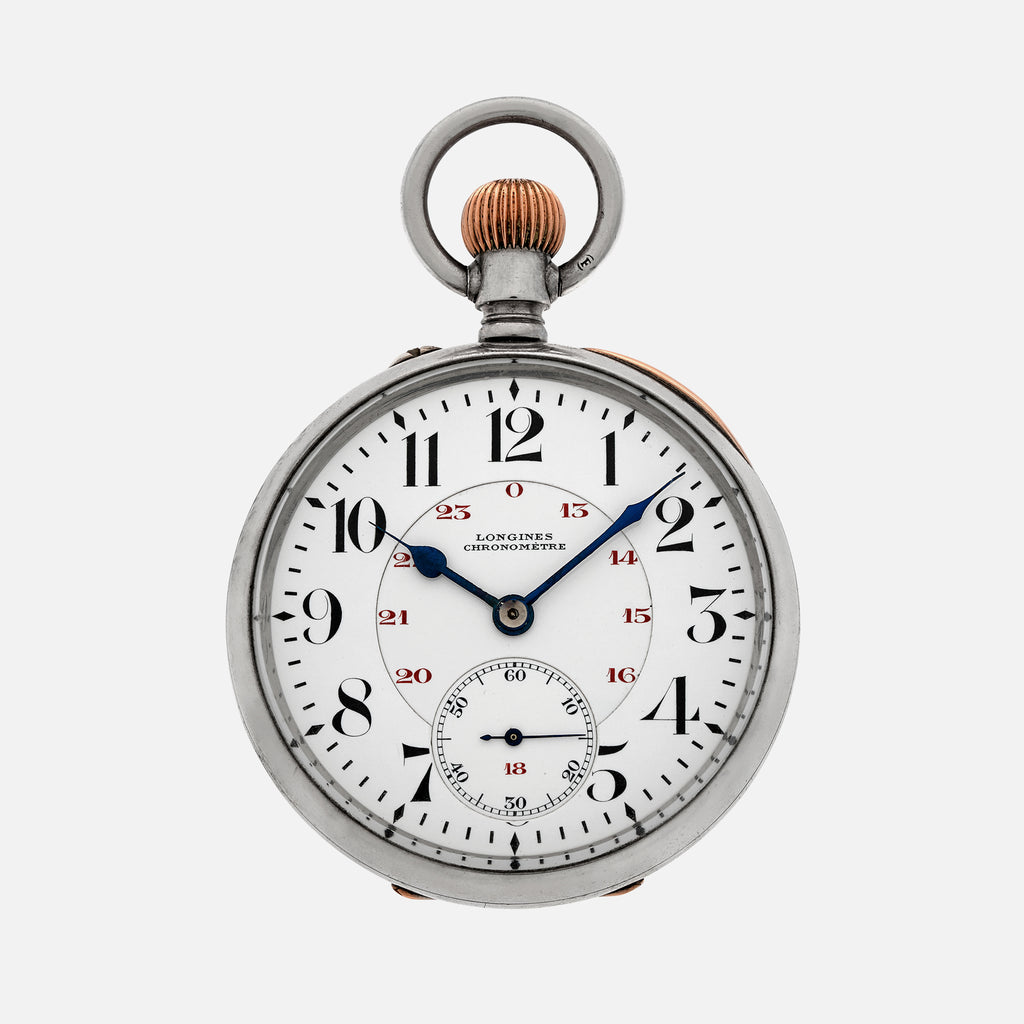 1927 Longines Pocket Watch Chronometer In Silver