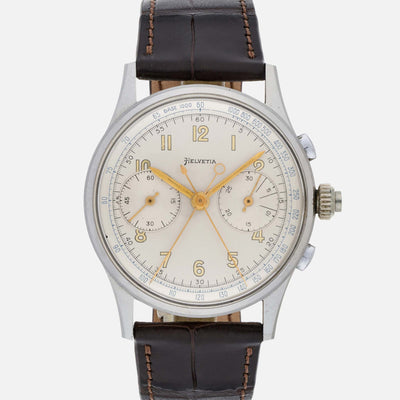 1950s Helvetia Split-Seconds Chronograph In Stainless Steel