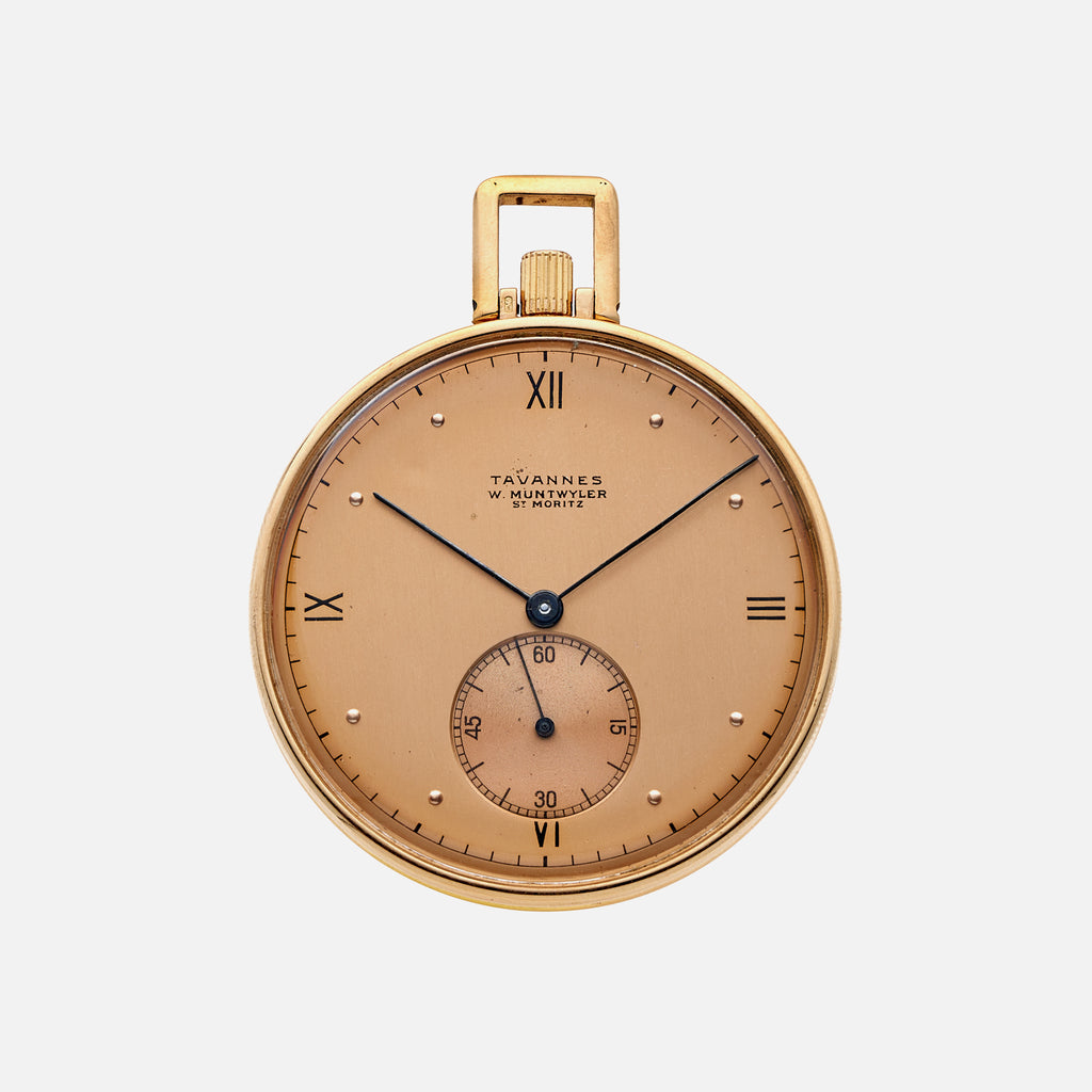 1940s Tavannes Pocket Watch In 18k Yellow Gold