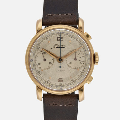1950s Minerva Chronograph In Yellow Gold