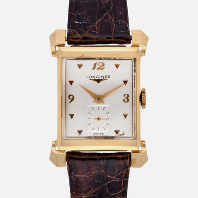 1950s Rectangular Longines In Yellow Gold